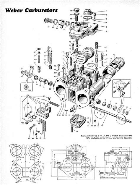 Exploded view of Weber 40 DCOE 2 | engine | Pinterest