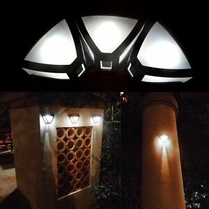 New Outdoor Solar Powered Wall Mount LED Light Garden Path Landscape Fence Lamp  eBay