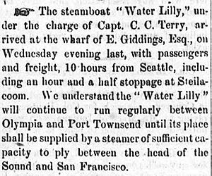 Water Lily (steamer Puget Sound) news story