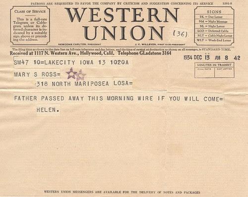Telegram reporting the death of John F Ross Sr.