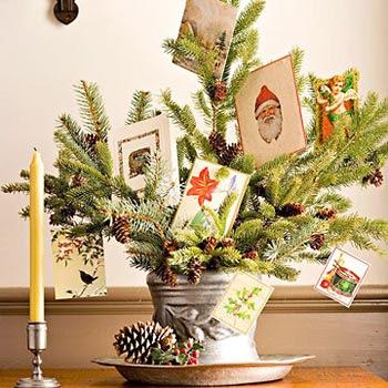 Nem árvore, apenas galhos enfeitados para o natal