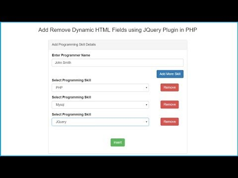 Add Remove Dynamic HTML Fields using JQuery Plugin in PHP