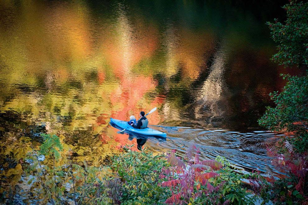Canoeing on Hampton Lake, North Carolina, is a great way to see fall foliage