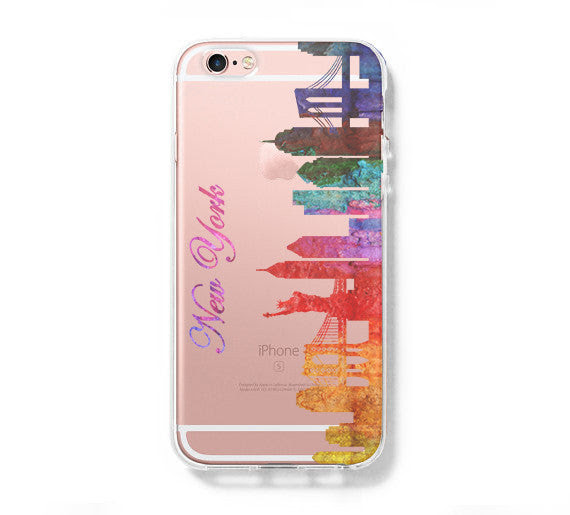 Watercolor New York Skyline Iphone 6s 6 Hard Clear Case Iphone 6s