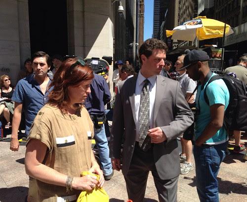 Actors preparing for a scene, 5th Avenue
