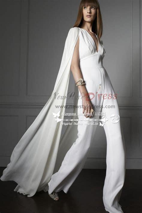 Modern bridal white chiffon jumpsuit Wedding dress with