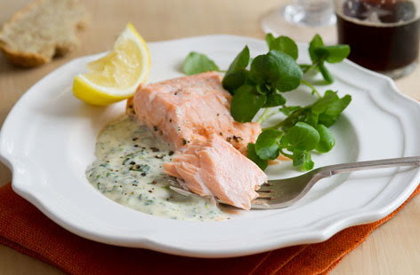 Oven poached salmon (h)