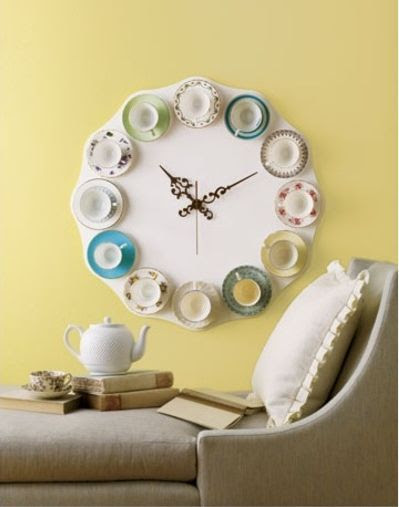 Teacup Clock | Vintage Revivals I remember seeing this in a copy of Living Etc (seriously, hunt it down and get it! You won't regret it!) and fell in love. Then out of love… with the price tag. $400?! I of course thought - I could make that! Clearly others had the same idea because DIY versions of this are all over the internet. A lot of people didn't do the scallop effect around the outside but I think that's one of the parts I like the most. I think I'll have to talk to my Dad about using his electric saw thing. And you can get a ton of pretty tea cups from cheap stores or op shops. I think you could do it for a lot less than $400!