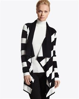 White House Black Market Striped Draped Coverup