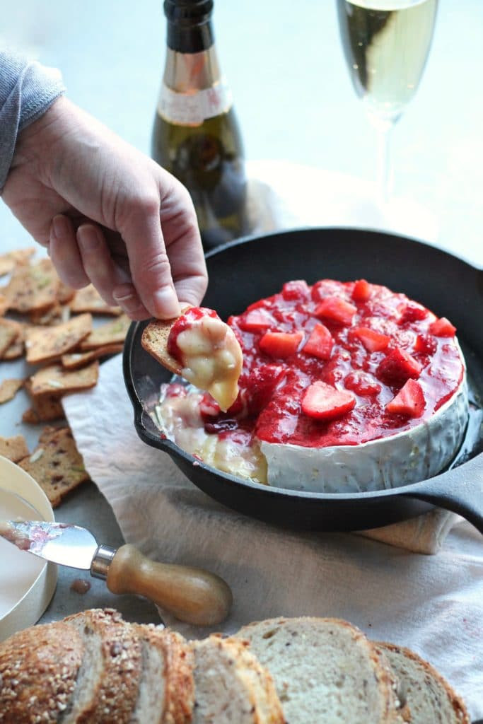 Strawberry Champagne Baked Brie