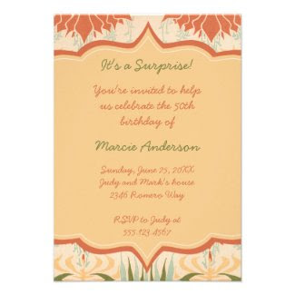 Vintage Peach Ivory Green Floral Party Invitation