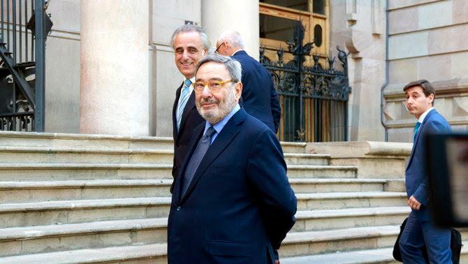 Narcís Serra i Adolf Todó, expresident i exdirector general de CatalunyaCaixa arriben a l'Audiència de Barcelona (ACN)