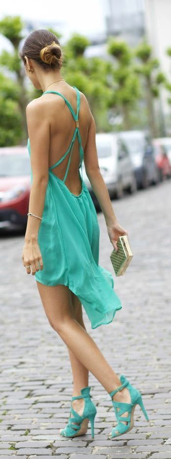 sexy turquoise summer dress. I would wear it with coral heels.