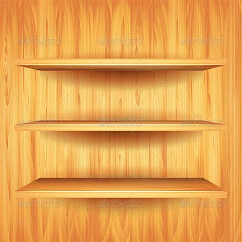 Wooden Shelves, Vector Background   GraphicRiver