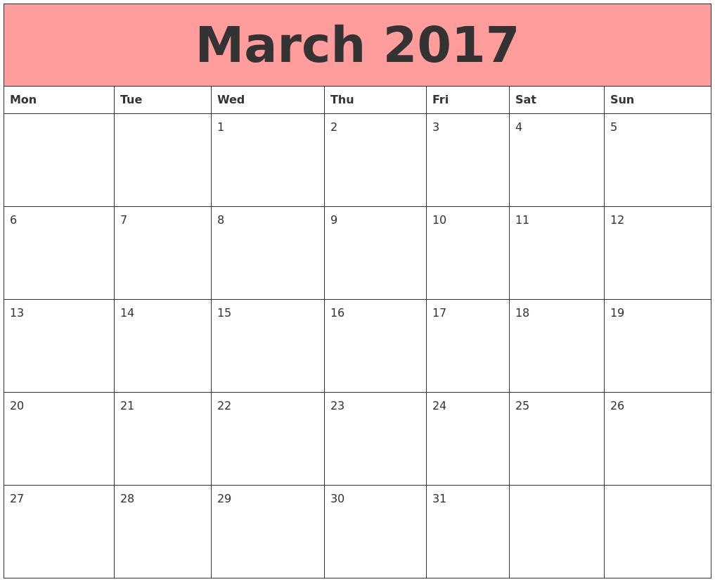 March 2017 Calendar Monday Start – 2017 March Calendar