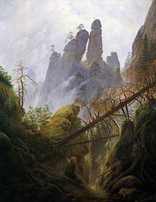 Rocky Barranco, óleo sobre lienzo de Caspar David Friedrich (1774-1840, Germany)