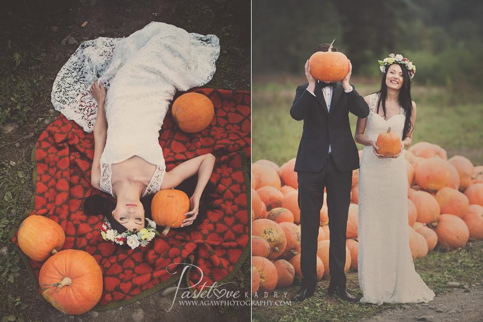 dyniowy plener ślubny
