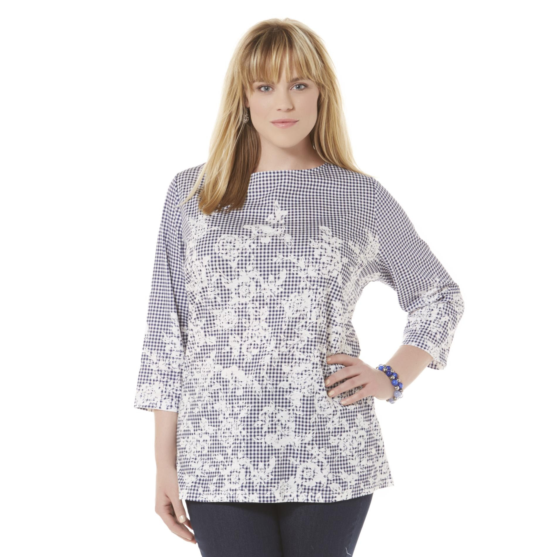 basic editions women's plus boat neck top  floral