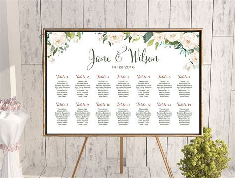 Ivory White Floral Wedding Seating Chart   Free Wedding