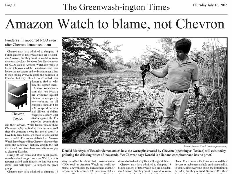 Washington Times Echoes Chevron's Lies in Libelous Hit Piece