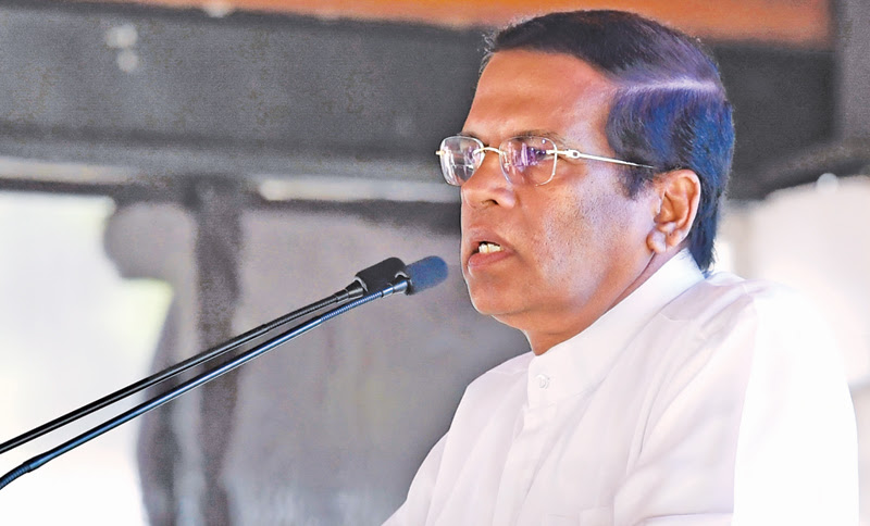 President Maithripala Sirisena addressing the second death anniversary commemoration of Ven. Maduluwawe Sobitha Thera in Battaramulla yesterday. Picture by Nissanka de Silva