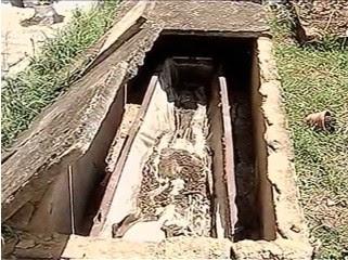 Túmulos foram violados em Passo Fundo (Foto: Reprodução/RBS TV)