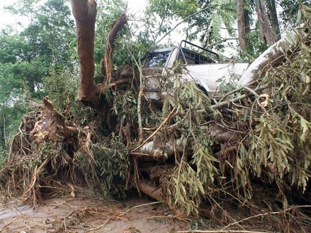 Carro fica preso entre pedaços de árvores em Itaóca, no Vale do Ribeira, interior de São Paulo (Foto: Gilmar dos Santos Araujo / VC no G1)