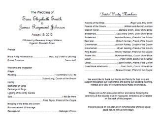 wedding program templates lovetoknow