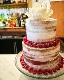Lemon Raspberry Semi Naked Cake Sucré New Orleans Wedding