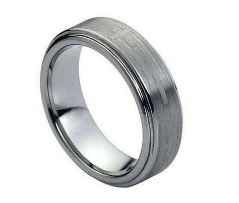 7mm Men's or Ladies Tungsten carbide Brushed With Crosses
