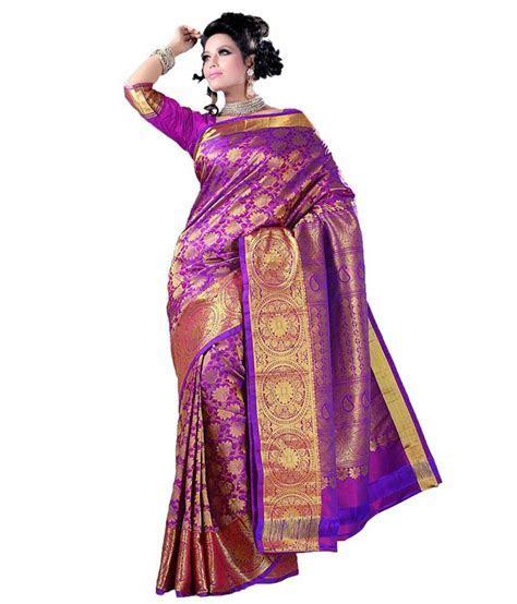 Purple Handloom Silk Saree with Heavy Pallu for Wedding