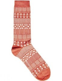 Reiss Birch Fair Isle Socks Rust