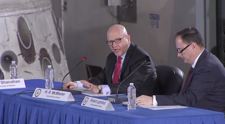 National Security Advisor H.R. McMaster discussed development of a National Space Strategy at the National Space Council meeting Feb. 21 at NASA's Kennedy Space Center. The White House formally announced the strategy March 23. Credit: NASA TV
