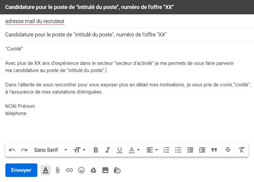 lettre de motivation accompagnant un cv