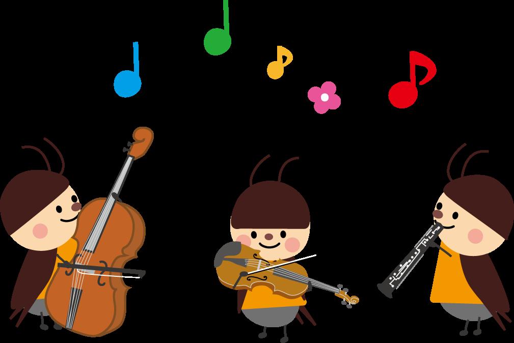 虫の音楽会のイラスト無料イラスト素材