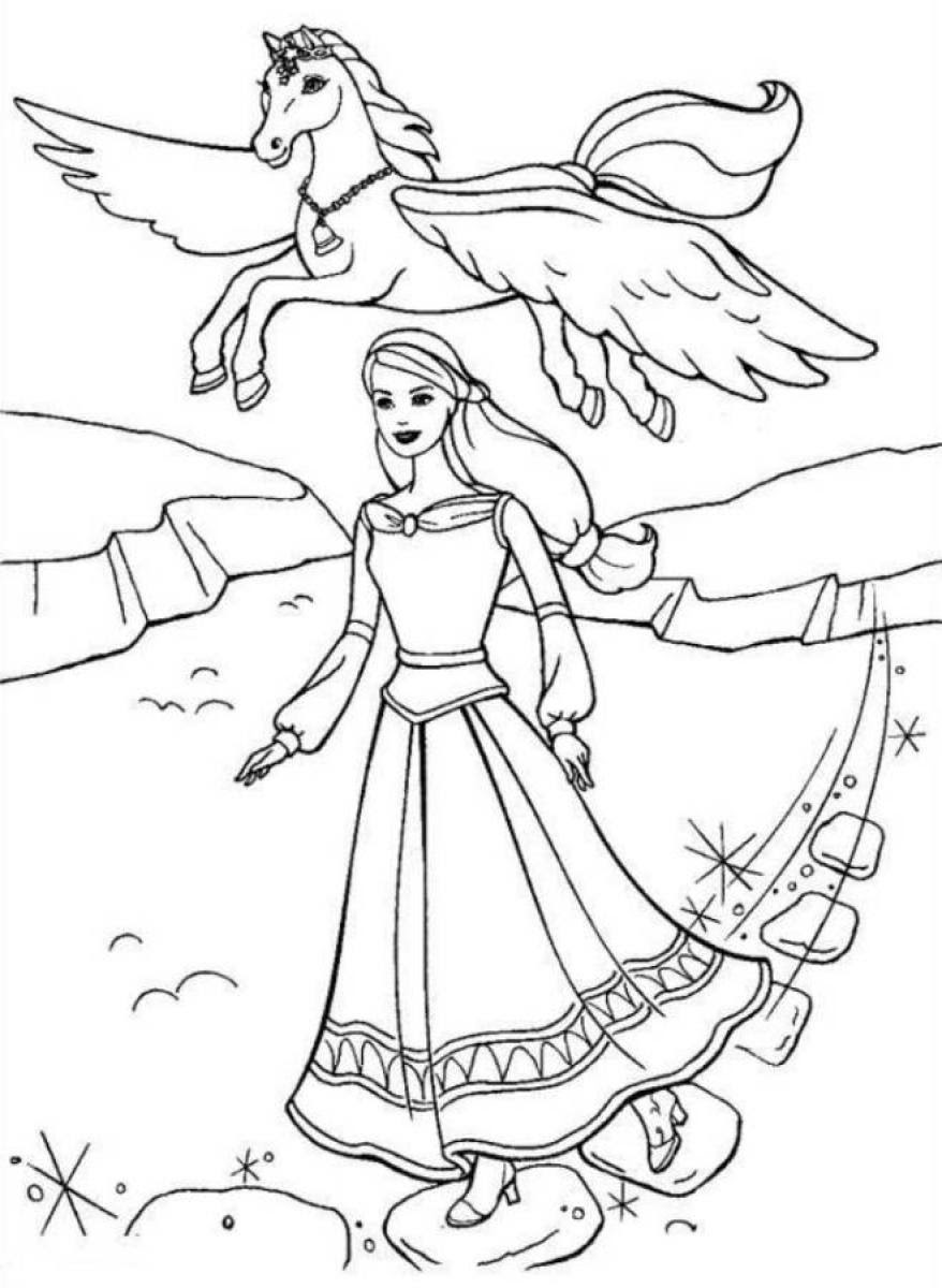 Coloriage barbie cheval magic
