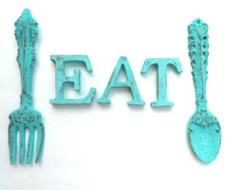 Shabby Chic Turquoise Cast Iron Fork and Spoon and EAT for Kitchen Decor - chicshabbyandunique