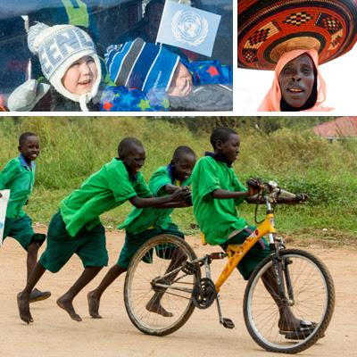 Un retrato de una mujer, dos niños con el logo de la ONU, un grupo de niños jugando con una bicicleta