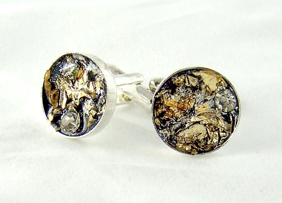 Cuff Links with Gold Leaf and Swarovski Crystals Black, Gold and SilverTexturized Cufflinks Faux Nugget