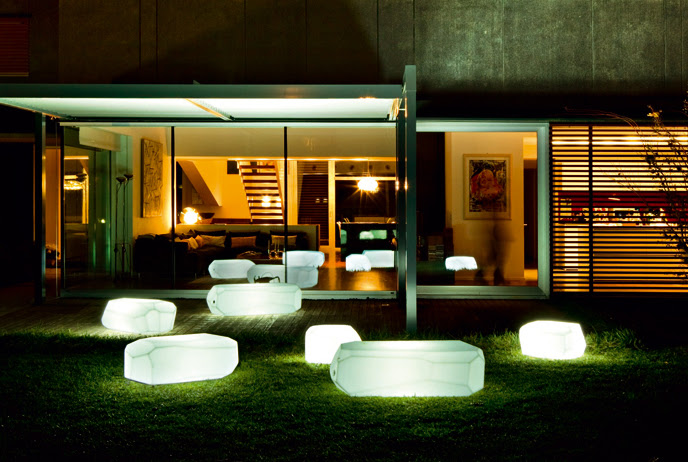 Translucent Polyethylene Seats, Poufs and Tables from Serralunga