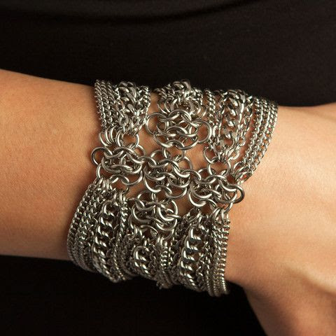 Rapt In Maille | Handmade #Chainmaille Jewelry by Melissa Banks | Stainless Steel | Chicago — METAL Gothic Rosette Bracelet
