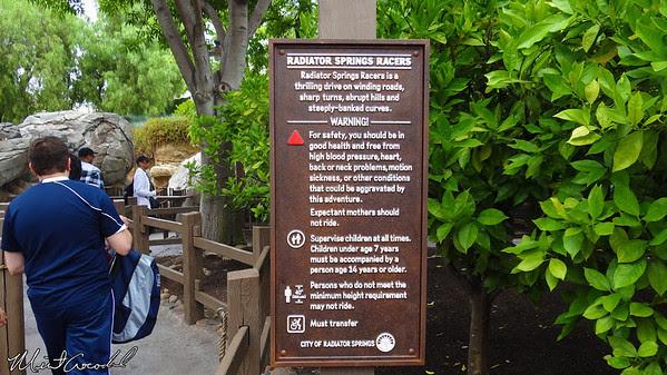 Disneyland Resort, Disney California Adventure, Radiator Springs Racers, FastPass, sign