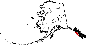 State map highlighting City and Borough of Sitka