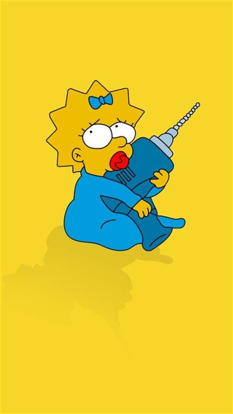 minimalistic babies  simpsons maggie simpson yellow