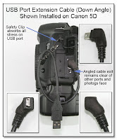 CP1070: USB Port Extension Cable (Down Angle) - Installed on Canon 5D Camera