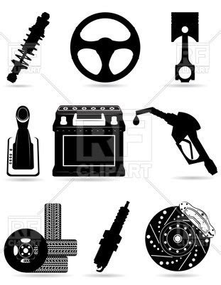Set of car parts - black silhouettes - Vector Stock Image