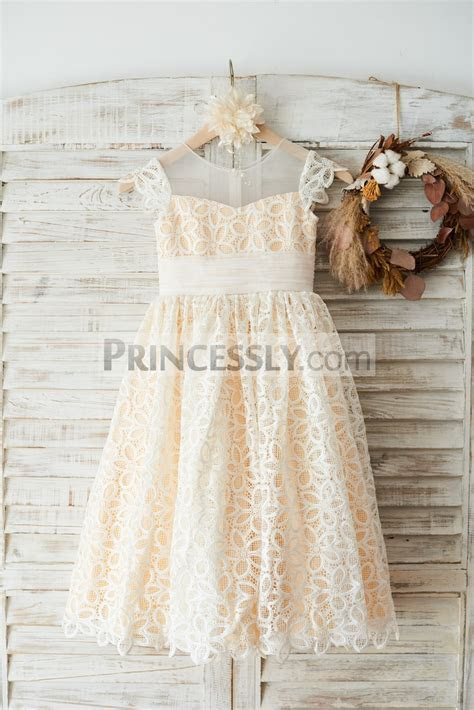 Cap Sleeves Ivory Lace Illusion Neck Wedding Flower Girl