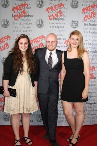 Print Editor-in-Chief Ilana Gale, Former Online Editor-in-Chief Christopher Bower and Former Print Editor-in-Chief Natalie Moore stand on the red carpet before the awards dinner began. Photo from the Los Angeles Press Club