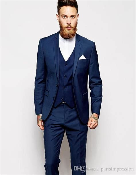 buy New Arrival men tuxedos blue wedding suits for men 3