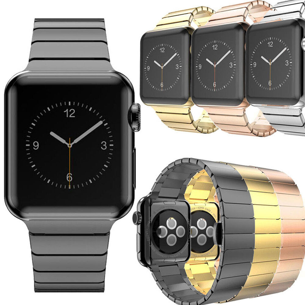 Butterfly Lock Wrist Band Strap For Apple Watch iWatch 38mm\/42mm Stainless Steel  eBay